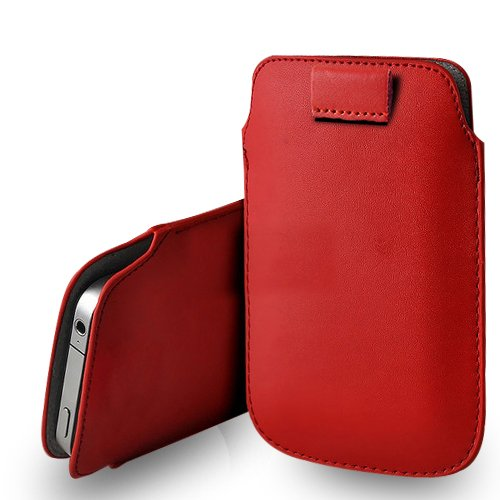 Apple iPhone 6S Plus Blanc Cuir Tirez écran Tab Housse Etui + Protecteur & Chiffon Red