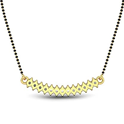 Candere By Kalyan Jewellers Punita 14k Yellow Gold and Diamond Mangalsutra Necklace for Women