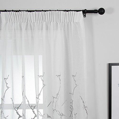 Top Finel Broderie Branches Rideaux Voilages de Fenêtre pour Salon Chambre Cuisine,Lot de 1 rideaux,300cm(largeur)x250cm(hauteur),Gris