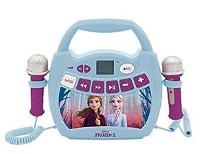 Lexibook- Vo Disney Frozen, Elsa, Anna, Mi primer reproductor digital Bluetooth con 2 micrófonos, inalámbrico, función Grabar, efecto de cambio de voz, para niñas, azul/púrpura, Color