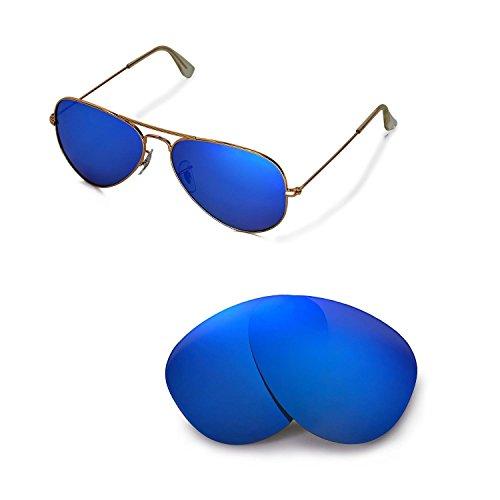 Walleva Ersatzgläser für Ray-Ban Aviator Large Metal RB3025 58mm Sonnenbrille - Mehrfache Optionen (Eisblau - Polarisiert)