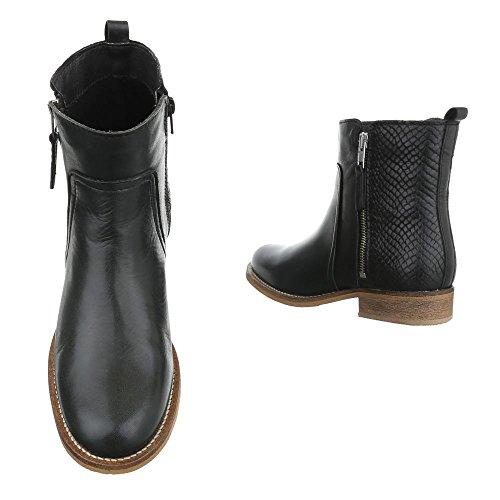 Komfort Stiefeletten Leder Damenschuhe Schlupfstiefel Blockabsatz Blockabsatz Reißverschluss Ital-Design Stiefeletten Schwarz