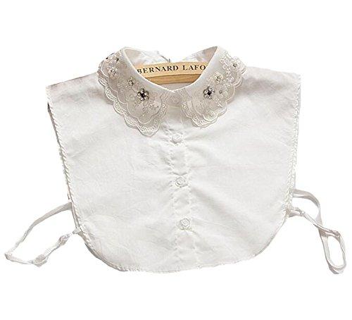 Qingsun Ms. wilden weißen Diamant-Perlen Dekoration falschen Kragen Hemdkragen Shirt Fälschung