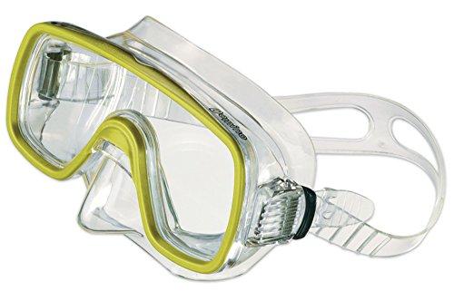 SALVAS Tauchermaske, Schnorchelmaske für Kinder DOMINO, gelb, blau, pink