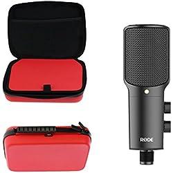 Navitech Cas de transport antichoc de microphone de Podcast rouge pour le Rode NT-USB