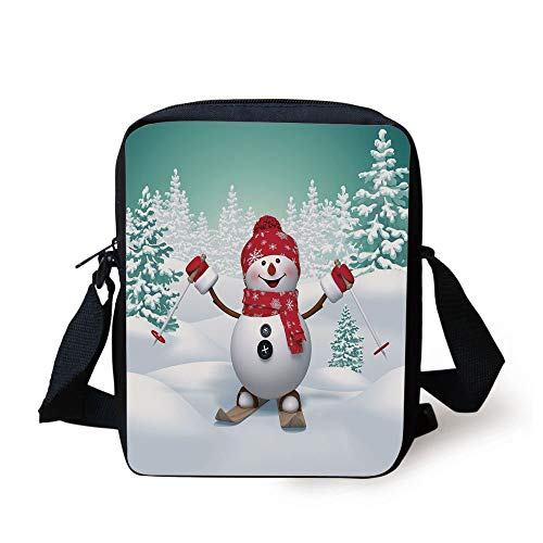 Christmas,Snow Covered Mountain with Fir Trees and Skiing Snowman Fun Holiday Activity,Teal Red White Print Kids Crossbody Messenger Bag Purse -