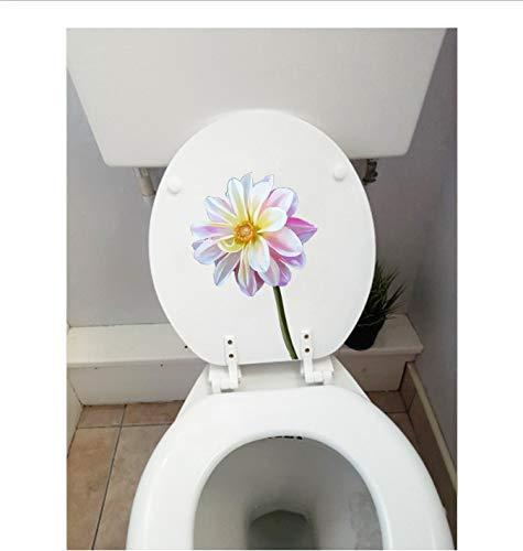 Toilettenaufkleber (1 Beutel / 2 Sätze) Modern Art Wall Decor Aufkleber Real Shot Flower Fashion Toilettensitzaufkleber 14.7X21.9CM (Real Shot Glas)