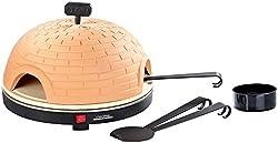 Cucina di Modena Pizza Dome: Pizzaofen mit Terrakotta-Haube & Schamottenstein-Platte, Ø 40 cm (Mini Steinofen Pizzaofen)