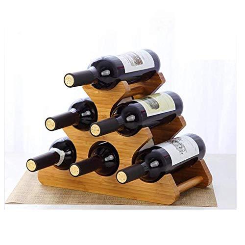 CHENG Weinregal 6 Flaschen aus Holz Arbeitsplatte freistehend stapelbar Design für Küche Wohnzimmer Restaurant - Stapelbare Weinregal Antik