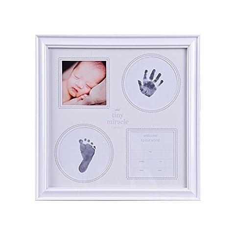 Kit Empreinte Bébé Cadre de Photo pour Souvenir la Naissance de Bebes et Enregistrer Bébé Pied et empreinte de main -