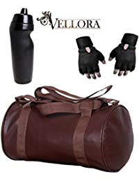 VELLORA Soft Leather Duffel Gym Bag (Brown) With Penguin Sport Sipper, Gym Sipper Water Bottle And Black Color...