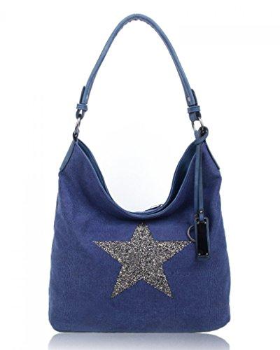 a50f5eee13c56 LeahWard® Groß Schule Taschen Damen Segeltuch Schultertasche Handtasche A4  160163 160164 OxfordBlue Glitter Star