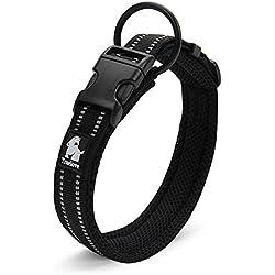ZEEY Cuello de seguridad fuerte noche de seguridad, suave transpirable malla 3M noche reflectante rayas, Cómodo collar ajustable para perros pequeños / medianos / grandes, Negro (XXL (55-60cm))