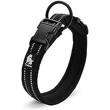Rantow Cuello de perro fuerte transpirable Collar de perro de seguridad ajustable cómodo para perros pequeños / medianos / grandes (Negro) (L 45-50cm)