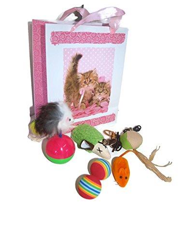 Juguetes Para Gatos 8 Piezas en Bolsa de Regalo Set Paquete Conjunto