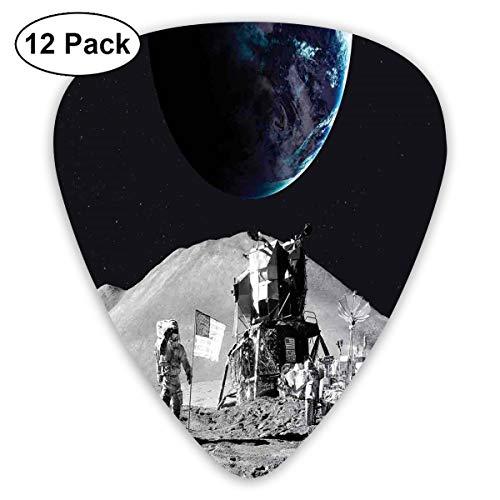 Guitar Picks12pcs Plectrum (0.46mm-0.96mm), Moon US Spaceman Launching On The Exploring Dark Matter Orbit Luna Design,For Your Guitar or Ukulele