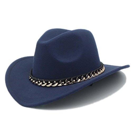 rauen Männer Western Cowboy Hut Für Gentleman Cowgirl Jazz Kirche Kappe Mit Leder Cloche Sombrero Cap ( Color : 1 , Size : 57-58CM ) (Cowboy Kostüm Diy)