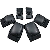 SKL Child's / Youth / Adults Sports Protective Gear safety pad Safeguard (Knee Elbow Wrist) Support Pad Set equipment for Child's roller bicycle BMX bike skateboard Scooter extreme sports bogu protector Guards Pads Black
