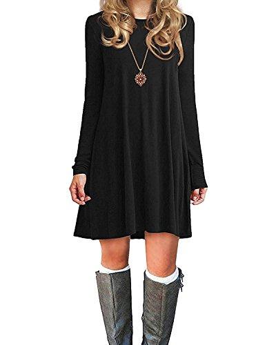 Azue Damen Einfaches Kleider Basic Casual A-Linie Skaterkleid Freizeit Kleider Fließendes Kleid Langarm Beiläufige Shirt Lose Rundhals Tunika Schwarz EU 42(Tag L)