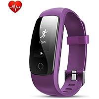 Bracelet Sport Connectée avec GPS,Macrourt Montre Connectée Sport Fitness Tracker d'Activité Etanche IP67 avec Cardiofréquencemètres, Podomètre, Distance, Calorie, Notification Appel & SMS pour IOS Android (Violet)