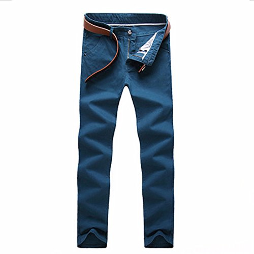 Men's Straight Cotton Full Length Casual Trousers Peacock Blue