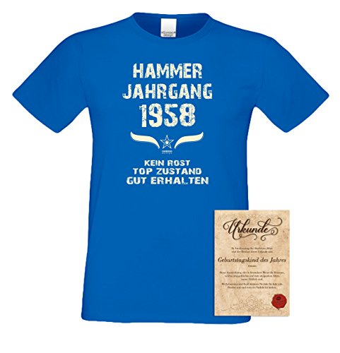 Geschenk zum 59. Geburtstag :-: Geschenkidee Herren kurzarm Geburtstags-Sprüche T-Shirt mit Jahreszahl :-: Hammer Jahrgang 1958 :-: Geburtstagsgeschenk Männer :-: Farbe: royal-blau Royal-Blau
