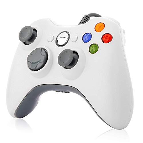 Game Controller, rottay USB Game Controller Wired Gaming Gamepad mit Schultern Tasten Joypad für Microsoft Xbox 360& Windows PC Weiß