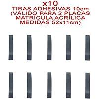 10 TIRAS ADHESIVAS DOBLE CARA PARA FIJAR/PEGAR MATRICULA ACRILICA 52 x 11 cm METACRILATO