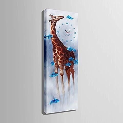 ZRF-pittura Clock Ornamento di giraffa dipinto ristorante sala soggiorno-camera da letto bambini non orologio scatola,30 * 90CM?senza