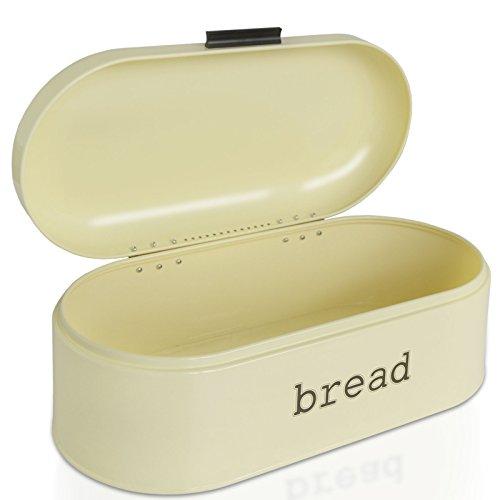 Brotkasten Karl | Brotbox im Retro Design aus Metall | optimale Luftzirkulation | Creme Beige – in zwei Größen (B/T/H: 43,5x21x16,3 cm)