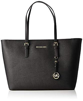 Michael Kors Women's Jet Set Travel Top-Zip Tote Handbag Brown