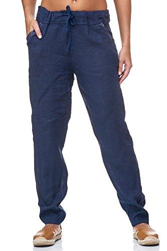 JillyMode hochwertige Damen Leinenhose aus bequemem Leinen in viele Farben Gr. 36- Gr.46(H137-Marineblau-XXXL)