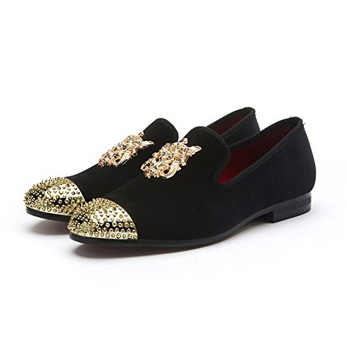 Herren Echtes Leder Herren Metallic Strukturierte Schlupfhalsband Glitzer Loafer Schuhe (EU43/US10, black)