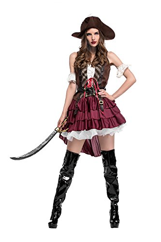 Honeystore Frauen Cosplay Kostüm Prinzessin der Meere Piraten Kostüm Verkleidung Gothic One Size Weinrot (Batman Und Robin Paar Halloween Kostüme)