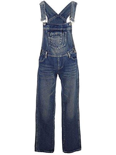 Blaue Latzhose von Anna-Kaci, Damen-Jeans mit gerader Beinform und Klappentasche Gr. L/XL, blau