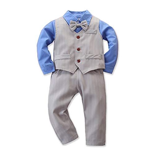 Likecrazy Baby Jungen Bekleidungssets, 3tlg Kinder Jungen Anzug Langarm Hemd+Streifen-Hose+Hosenträger+Fliege Krawatte Overall-Gentleman Suit für Herbst Winter