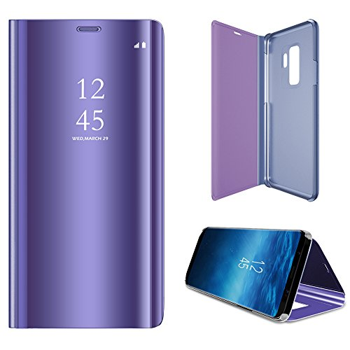 Case for Galaxy S9 Plus Case Mirror,WIWJ Elegant Mirror View Flip PU Leather Case Luxury Slim Shockproof Cover Case Foldable Makeup Phone Case Stand Function Case for Samsung Galaxy S9 Plus-Purple