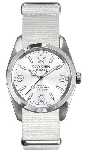 Oxygen - EX-S-PAR-38-WH - Sport - Montre Homme - Quartz Analogique - Cadran Blanc - Bracelet Nylon Blanc