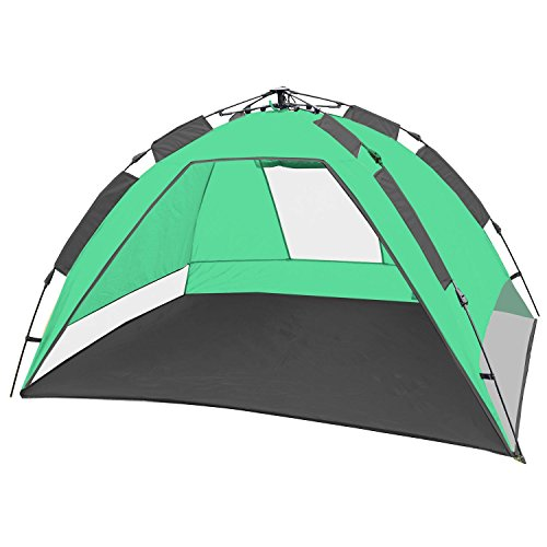CampFeuer - Strandmuschel, grün/grau, UV50+, Automatik Strand Zelt, Beach Tent