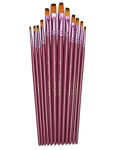 Paint Brush Set, Chickwin 12 Pcs/Set High-grade Artist Paint Brushes Purple Watercolor Gouache Painting Pen Acrylics Oil Painting Supplies (Flat)