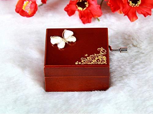 Justine Mooredsfds Diamond Mini Hand Shake Music Box Wooden Octave Musical Box Birthday, (Butterfly) Butterfly Music Box