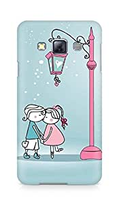 Amez designer printed 3d premium high quality back case cover for Samsung Galaxy A3 (Anime Cartoon Sweet Lover Couple Kissing Winter Street Light)
