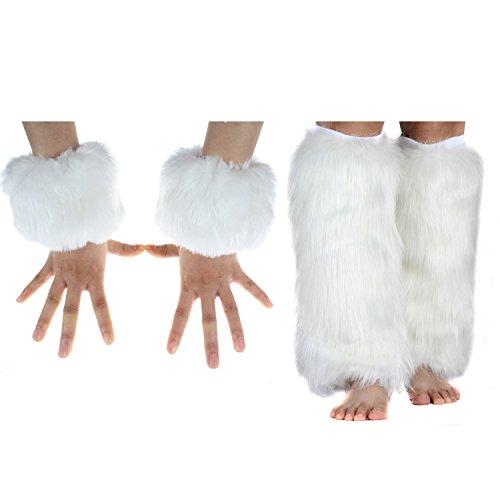 Ecosco - Scalda-polsi in pelliccia sintetica per autunno, inverno e temperature rigide, donna, 40cm leg warmer+wrist cuff white