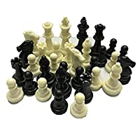 qingtang37 Medieval Chess Pieces/Plastic Complete Chessmen International Word Chess Game Entertainment Black&White(49*20*50MM, black white)(49*20*50MM, black white)