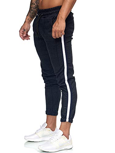 OneRedox Herren | Jogginghose | Trainingshose | Sport Fitness | Gym | Training | Slim Fit | Sweatpants Streifen | Jogging-Hose | Stripe Pants | Modell 1226 Grau Weiss XL