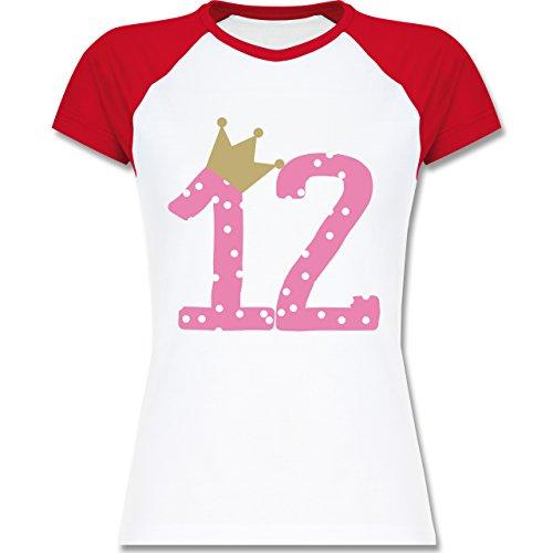 Geburtstag - 12. Geburtstag Krone Mädchen Zwölfter - zweifarbiges Baseballshirt / Raglan T-Shirt für Damen Weiß/Rot