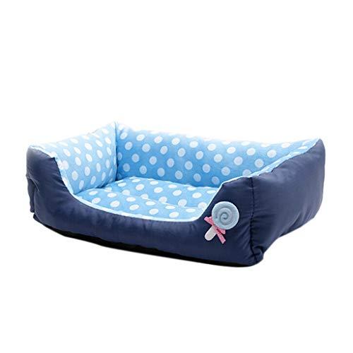 Hundebett,Weiche Haustier Hundekatze Bett Kissen Warme Zwinger Hundematten Decke,Denim Polka Dot Nest Hundehütte,für Mittlere Kleine Hunde,für Drinnen,Draußen (Blau, L) -