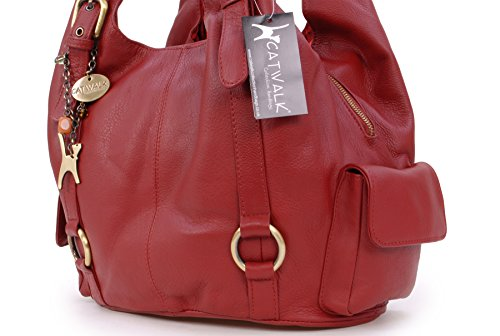 Catwalk Collection, Borsa a tracolla in pelle, Donna Rosso