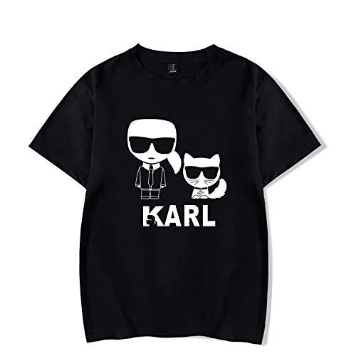 INSTO T-Shirt Mode Karl Lagerfeld Drucken Kurze Ärmel T-Stück Beiläufig Lose Trikot Mehrfarben Optional/Schwarz/M