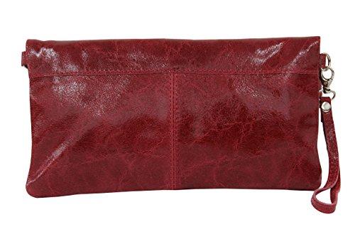AMBRA Moda Damen Leder Clutch Handtasche Glattleder Tasche Handschlaufe WL821 Dunkelrot